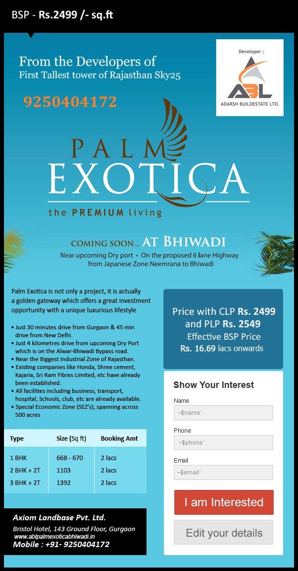 Call 9250404172 Pre Launch ABL Palm Exotica BhiwadiReal EstateApartments  For SaleAll IndiaAirport