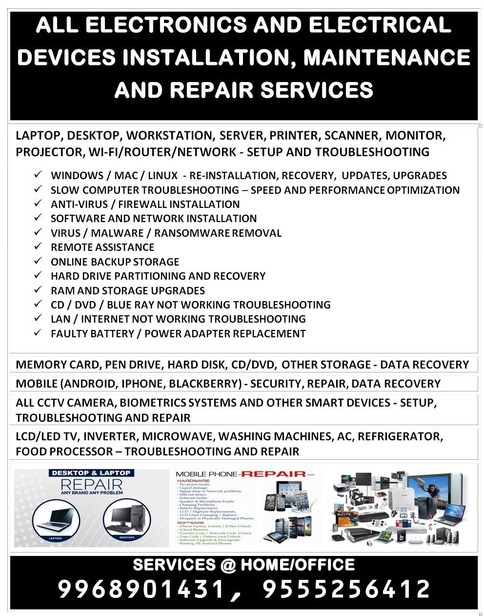 ELECTRONICS DEVICES REPAIRING SERVICEComputers and MobilesLaptop Mobiles Computer RepairingNorth DelhiPitampura